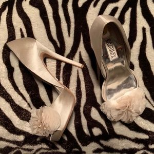 Badgley Mischka Rosette D'Orsay Silk Pumps